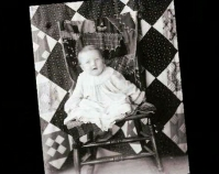 Historic photograph of a baby sitting in a chair   In upcoming book by Janet E. Finley, Schiffer Publishing,  Atglen, Pennsylvania; late 2012 Collection of Janet E. Finley