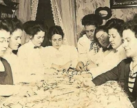 Historic photograph of women quilting In upcoming book by Janet E. Finley, Schiffer Publishing,  Atglen, Pennsylvania; late 2012 Collection of Janet E. Finley