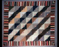 Log Cabin Straight Furrows with Roman Stripe Border Maker unknown c. 1880 Cotton 73