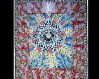 Cup Mandala Therese May 2006 Digital print on cotton, acrylic paint 75