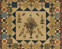 Hewson-Center Quilt with multiple borders Maker unknown, center block printed by John Hewson 1790-1810 Cotton and possibly linen 85 ½