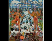"Water Terrie Hancock Mangat 2010 Sheer silk, cotton, acrylic paint, rhinestones, sequins,  chandelier crystals, glass bugle beads, cotton handembroidery thread, other beads, hand-dyed ribbon 122"" x 98\"" Photo by Joseph Coscia Collection of John M. Walsh, III"
