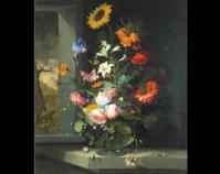 "Floral Still Life Jacob van Walscapelle 1682 Oil on canvas 40 ¼"" x 35 ³⁄₁₆"" Gift of Eleanor Bingham Miller and Barry Bingham, Sr.  in honor of Mary Caperton Bingham Item number 1987.1 The Speed Art Museum Louisville, Kentucky www.speedmuseum.org"