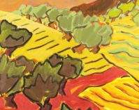 "July at Noon in Umbria Billy Hertz 2004 Oil on paper on panel 29"" x 20"" www.billyhertzgallery.com"