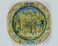 "Dish Workshop of the Fontana family After designs by Battista Franco  c. 1560 Maiolica 2 ⅜"" x 17 ⁷⁄₁₆"" Bequest from the Preston Pope Satterwhite Collection;  conservation funded by Mr. & Mrs. William O. Alden,  Jr., 2002 Item number 1949.30.244 The Speed Art Museum Louisville, Kentucky www.speedmuseum.org"