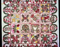 "Album Quilt Maker unknown c. 1845-1855 Cotton 108"" x 98\"" Collection of Jane and Gerald Katcher"
