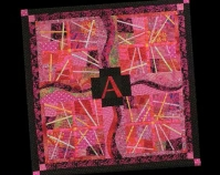 "The Scarlet Letter Kathleen Loomis 2002 Commercial cottons 52"" x 53"" Photo by George Plager www.kathyloomis.com"
