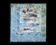 "Vermont Swimmer Catherine McConnell 1991 Heat transfers on acetate, cotton backing, machinequilted 82 ½"" x 77 ½"" Collection of John M. Walsh, III"