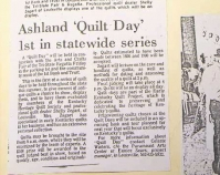 "Ashland ""Quilt Day"" 1st in statewide series Newspaper article Shelly Zegart Archives"