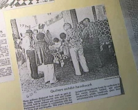 Quilters exhibit handiwork Newspaper article June 28, 1981 Shelly Zegart Archives