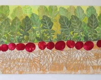 "Radish Row Valerie White 2009 Hand-dyed fabric, textile paint 16"" x 37\"" www.valeriecwhite.com"