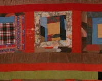 "Housetop sampler containing Nine Patch and Southern Star Arlonzia Pettway 1976 Cotton, polyester and wool blend, corduroy 90"" x 72"" From Gee's Bend: The Women and Their Quilts Tinwood Books, 2002 Courtesy of Matt Arnett"