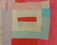 "Medallion variation, tied with yarn Creola Pettway 1983 Nylon blend (tricot) 84"" x 69"" From Gee's Bend: The Women and Their Quilts Tinwood Books, 2002 Courtesy of Matt Arnett"