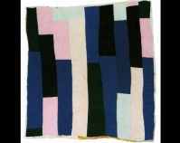 "Bars Annie Mae Young c. 1965 Cotton, polyester, synthetic blends 81"" x 79\"" From Gee\'s Bend: The Architecture of the Quilt Paul Arnett, Tinwood Books, 2006  Courtesy of Matt Arnett Photo by Pitkin Studio"