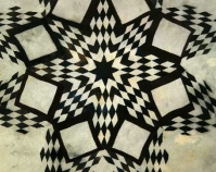 "Broken Star variation Magdalene Wilson c. 1925 Cotton, wool, silk 91"" x 85\"" From Gee\'s Bend: The Architecture of the Quilt Paul Arnett, Tinwood Books, 2006  Courtesy of Matt Arnett Photo by Pitkin Studio"