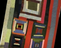 "Housetop and Bricklayer blocks with bars Lucy T. Pettway c. 1955 Cotton, corduroy, cotton knit, flannel, even weave 90"" x 78\"" From Gee\'s Bend: The Architecture of the Quilt Paul Arnett, Tinwood Books, 2006  Courtesy of Matt Arnett Photo by Pitkin Studio"