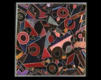 """Abstract Crazy Quilt Signed """"to Nellie Lankford from Auntie,  June 23, 1929"""" Velvet 84"""" x 86"""" Photo by Geoffrey Carr Formerly in the collection of Shelly Zegart"""