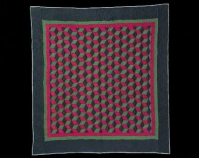 """Baby Blocks Maker unknown c. 1925 Cotton 74"""" x 80"""" The Darwin D. Bearley Collection Antique Ohio Amish Quilts Bernina Sewing Machine Co. of Zurich, Switzerland, 2006 Courtesy of Darwin D. Bearley"""