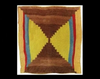 """Bricklayer Variation and Housetop  Two-sided quilt Loretta Pettway 1972 Corduroy 86"""" x 83"""" From Gee's Bend: The Architecture of the Quilt Paul Arnett, Tinwood Books, 2006  Courtesy of Matt Arnett Photo by Pitkin Studio"""