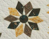 """Chintz Stars (detail) Mary H. Barlow 1830 Cotton 106"""" x 128"""" Photo by Geoffrey Carr Collection of Shelly Zegart"""
