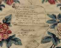 Inscription on a 19th -century presentation quilt (detail)  Additional information unknown Photo by Geoffrey Carr