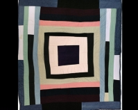 """Housetop Lola Pettway 2003 Cotton and denim 72"""" x 64"""" From Gee's Bend: The Architecture of the Quilt  Paul Arnett, Tinwood Books, 2006 Photo by Pitkin Studio Courtesy of Matt Arnett"""