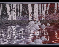 """Forest Flowing Karen Perrine 1992 Procion MX dye and fabric pen on cotton, pigments on  metallic knit mesh, polyester/cotton and metallic threads 76"""" x 138"""" Collection of John M. Walsh, III"""