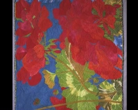 "Geranium Velda Newman 1993 Hand-dyed cotton, hand-stitched 80"" x 98"" Collection of John M. Walsh, III www.veldanewman.com"