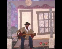 "Blues Man Carolyn Mazloomi 1998 Commercial and hand-dyed cotton, felt, buttons, beads,  metallic and rayon thread, acrylic paint 52"" x 76"" www.carolynlmazloomi.com"