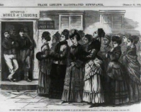 The Ohio whiskey war - the ladies of Logan singing hymns  in front of barrooms in aid of the temperance movement 1874 Library of Congress Prints & Photographs Division  Washington, D.C. Item number LC-USZ62-90543 www.loc.gov/pictures