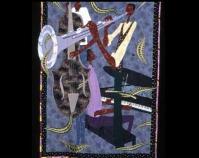 "Midnight Jazz Dr. Carolyn Mazloomi 2005 Commercial cotton, hand-dyed cotton, beads,  buttons, yarn, metallic threads 74"" x 52"" www.carolynlmazloomi.com"