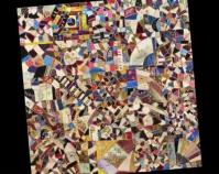 "Crazy Quilt Top Maker u n known c. 1885 Velvet, silks, ribbons 62 ½ "" x 61 ½ "" Item n umber 1922.192 The Charleston Museum Charleston, Sou th Carolina www.charlestonmuseum.org"