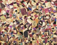 "Crazy Quilt Julia M. Pollitzer 1883 Silks, velvets, cott on 59 "" x 61 ½ "" Item number 1930.246.001 The Charleston Museum Charleston, Sou th Carolina www.charlestonmuseum.org"
