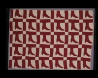"""Lady ' s Shoe Quilt Fanny Cork c. 1890 Cotton 67 """" x 93 """" From Always There: The African - American Presence in American Quilts The Kentucky Quilt Proj ect Archives University of Louisvill e Archives & Records Center Louisville, Kentucky louisville.edu/library/archives"""