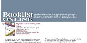 Why Quilts Matter: History, Art & Politics BooklistOnline.com Review