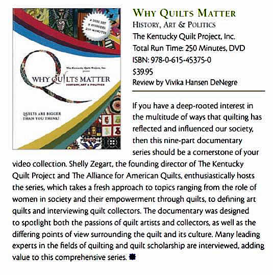 Quilting Arts Reviews Why Quilts Matter, April 2012