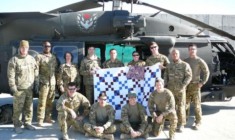 Some of the crew from All American DUSTOFF outside Bagram CASH (Afghanistan); photo courtesy QOVF