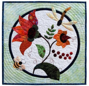 "How Does Your Garden Grow? (16"" x 16"") by Mary Sorensen; sold at the AAQI Celebrity Quilt Auction"