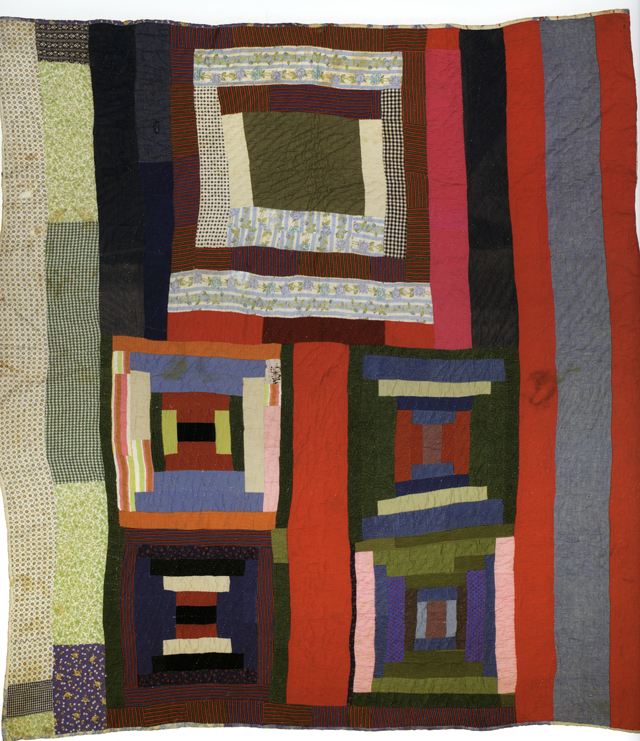 "Housetop and Bricklayer blocks with bars; c. 1955; made by Lucy T. Pettway; 90"" x 78""; cotton, corduroy, cotton knit, flannel, and even weave;<br />photo by Pitkin Studio, courtesy of Matt Arnett"