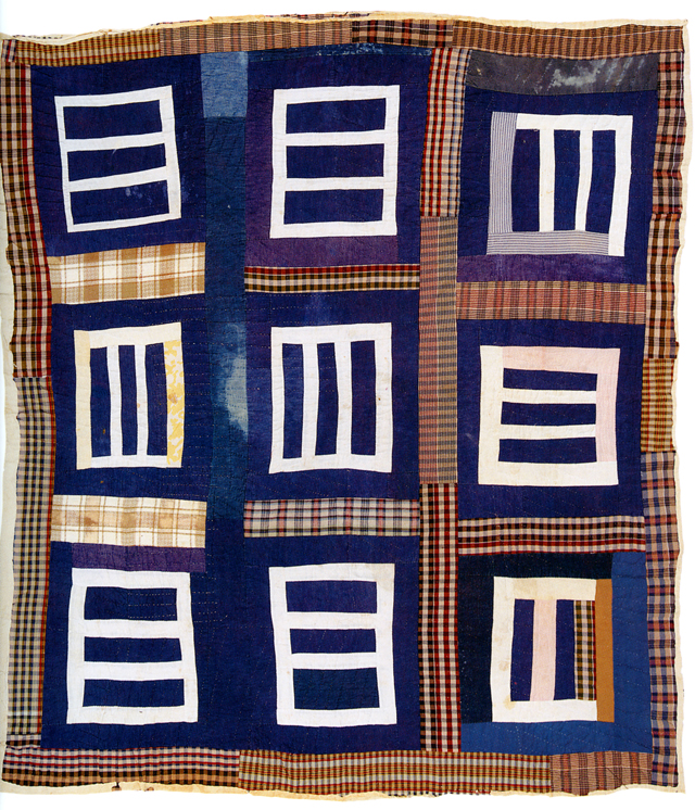 "Housetop (nine-block variation); c. 1975; made by Mary L. Bennett; c. 1975; 87"" x 77""; cotton, denim, cotton/polyester blend, and cotton knit; photo<br />courtesy of Matt Arnett"