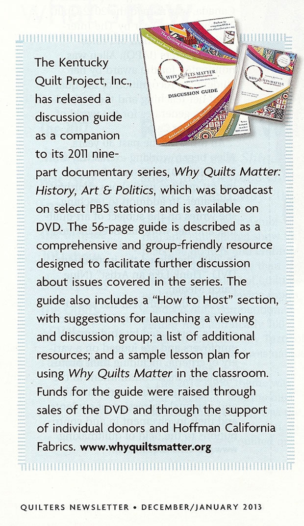 Quilters Newsletter - 2012.12-2013.01 Issue (extract)