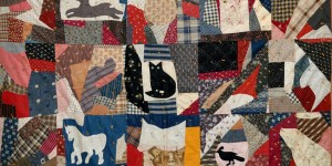 Black Cat Crazy Quilt fragment by Nell Breyton of Edwards, Saint Lawrence, New York