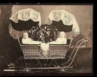 Historic photograph of twins in a baby carriage   In upcoming book by Janet E. Finley, Schiffer Publishing,  Atglen, Pennsylvania; late 2012 Collection of Janet E. Finley