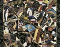 Crazy Quilt Catherine Mazyck c. 1885 Silks, velvets, ribbons, brocades, printed cotton  sateen backing (pre-quilted) 60
