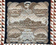 Centennial Exhibition Commemorative Quilt  with Fairmont Park Bandana in center Maker unknown 1876 Cotton Photo by Geoffrey Carr Formerly in the collection of Shelly Zegart