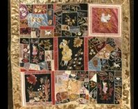Crazy Quilt with Lil Bo Peep Center Maker unknown c. 1880 Silks Photo by Geoffrey Carr Formerly in the collection of Shelly Zegart