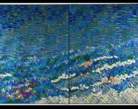 "Surf Swimmers Tim Harding 1998 Silk, cotton duck backing 89"" x 138\"" diptych Photo by Gregory Case Collection of John M. Walsh, III"