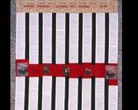 "Our Dead: June 21, 2006 Adrienne Yorinks 2006 Photo-transfers, cotton, silk 66\"" x 99\"" www.adrienneyorinks.com/textile"