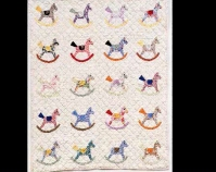"Rocking Horse appliquéd crib quilt Maker unknown 1930s Cotton 34"" x 44\"" Courtesy of Victoria Hoffman Photo by D. James Dee"