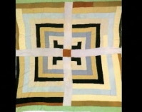 "Housetop with Cross Linda Diane Bennett c. 1970 Cotton, synthetic blends, wool 78"" x 75"" From Gee's Bend: The Architecture of the Quilt Paul Arnett, Tinwood Books, 2006  Courtesy of Matt Arnett Photo by Pitkin Studio"